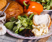 Healthly picnic lunch with vegetables and cheese Stock Images