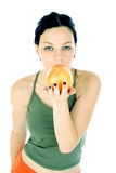 Healthy. Model with grapefruit Royalty Free Stock Photos