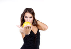 Healthy. Girl with grapefruit Royalty Free Stock Photo