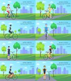 Healthy Active Lifestyle Banners with Man on Bike Stock Image