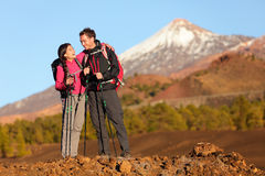 Healthy active lifestyle - Hiker people hiking. Healthy active lifestyle. Hiker people hiking in beautiful mountain nature landscape. Woman and men hikers royalty free stock images
