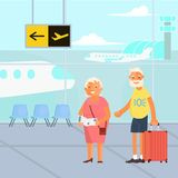 Healthy active lifestyle retiree. For grandparents. Elderly people characters travel.  Voyage for grandparents family Seniors at the airport. Vector Stock Images