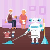 Healthy active lifestyle retiree. For grandparents. Elderly people characters on the couch control the home robot for housewor. Vector illustration eps 10 Stock Photos