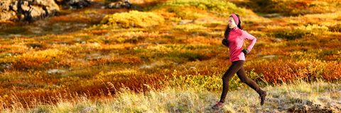 Free Healthy Active Lifestyle Trail Running Athlete Woman Training Outdoors Doing Cardio Exercise In Autumn Foliage Background. Royalty Free Stock Photo - 160502075