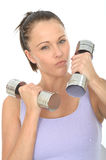 Healthy Aggressive Fit Determined Young Woman Training With Dumb Bell Weights Royalty Free Stock Photos