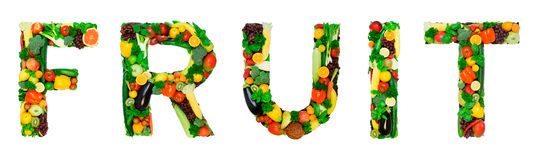 Healthy alphabet - FRUIT Royalty Free Stock Image
