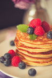 Healthy american pancakes Stock Photography