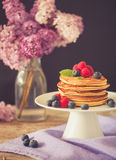 Healthy american pancakes Stock Images