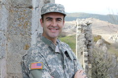 Healthy American soldier smiling outdoors stock photography