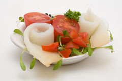 Healthy appetizer. With fish and tomato stock photos