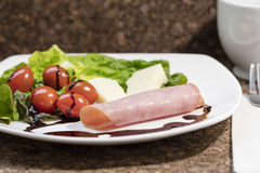 Healthy Appetizer of Cheese, Tomato and Ham Stock Photos