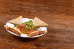 Healthy appetizer with  toast and gnocci Royalty Free Stock Image