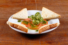 Healthy appetizer with  toast and gnocci Stock Photo