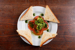 Healthy appetizer with  toast and gnocci Stock Image