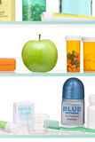 Healthy Apple Food Nutrition Diet Fruit. A medicine cabinet with an apple and other products promoting healthy eating Royalty Free Stock Photography