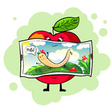 Healthy apple. Postcard. Stock Images
