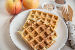Healthy apple waffles. Home made Healthy apple waffles royalty free stock image