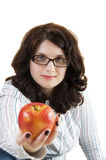 Healthy apple woman Royalty Free Stock Images