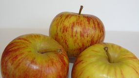 Healthy Apples. Close up of three red vain apples Stock Photo