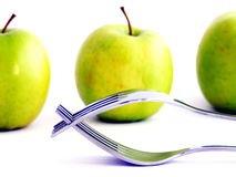 Healthy Apples and Forks Stock Photos