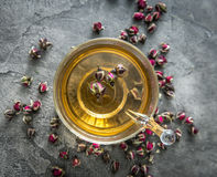 Healthy aromatic tea with dog roses, topvivew Stock Photo