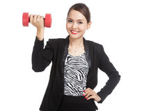 Healthy Asian business woman with dumbbells Royalty Free Stock Photos