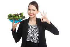 Healthy Asian business woman show OK with salad Stock Images