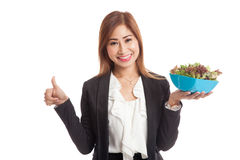Healthy Asian business woman thumbs up with salad Royalty Free Stock Photography