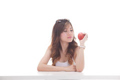 Healthy asian woman with fruits Royalty Free Stock Photo
