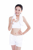 Healthy asian woman with towel Royalty Free Stock Image