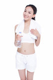 Healthy asian woman with towel and water bottle Royalty Free Stock Photo