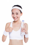 Healthy asian woman with towel and water bottle Stock Image