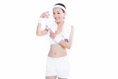 Healthy asian woman with towel and water bottle Stock Photo