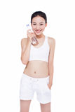 Healthy asian woman with water bottle Royalty Free Stock Photography