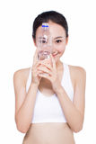 Healthy asian woman with water bottle Royalty Free Stock Photo