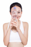 Healthy asian woman with water bottle Stock Images