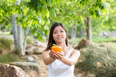 Healthy Asian woman in white dress holding flowers and fruits at green park Stock Photography