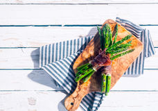 Healthy asparagus bacon wraps Royalty Free Stock Photography