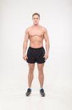 Healthy athletic man posing. Shirtless healthy athletic young man standing isolated on white background Royalty Free Stock Photos