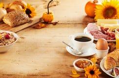 Healthy autumn breakfast borders stock photos