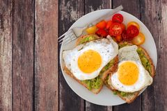 Healthy avocado, egg toasts with tomatoes on rustic wood background Royalty Free Stock Photos