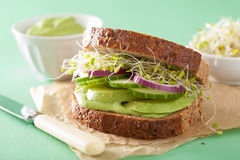 Healthy avocado sandwich with cucumber alfalfa sprouts onion Stock Photography
