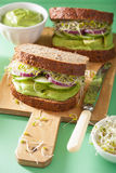 Healthy avocado sandwich with cucumber alfalfa sprouts onion.  Royalty Free Stock Photo