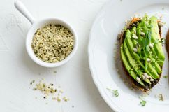 Healthy avocado toasts royalty free stock images
