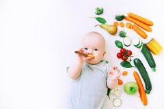 Healthy baby child nutrition, food background, top view. Stock Photo