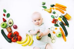 Healthy baby child nutrition, food background, top view. Royalty Free Stock Photography