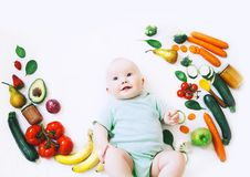 Healthy baby child nutrition, food background, top view. Royalty Free Stock Image