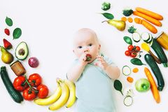 Healthy baby child nutrition, food background, top view. Stock Image