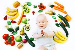 Healthy baby child nutrition, food background, top view. Stock Images