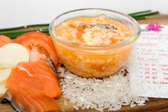Healthy baby food recipe. Domestic recipe of healthy baby food complete with ingredients Stock Photos